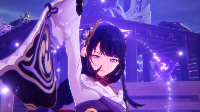 The genshin impact character, Baal, looking directly at the camera. She has one arm raised as she prepared to strike