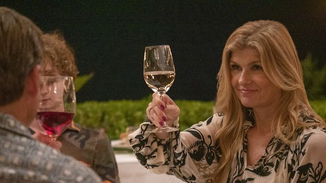 Connie Britton offers a toast in HBO Max's The White Lotus