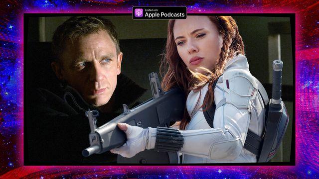 Graphic featuring Daniel Craig as James Bond and Scarlett Johansson as Black Widow