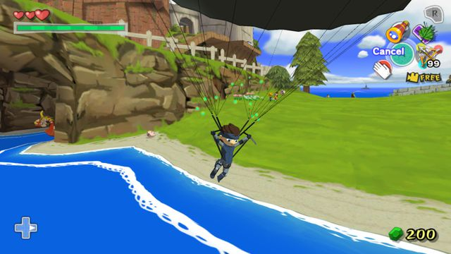 an image of Link from Wind Waker parachuting down in a Solid Snake's outfit