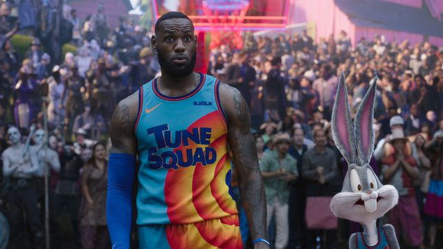 LeBron James and Bugs Bunny look aghast in Space Jam: A New Legacy