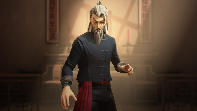a gray-haired and gray-bearded martial artist in Sifu