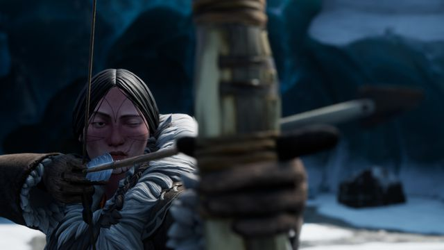 Dread Hunger - the Hunter nocks and aims a bow in the middle of the Arctic wilderness