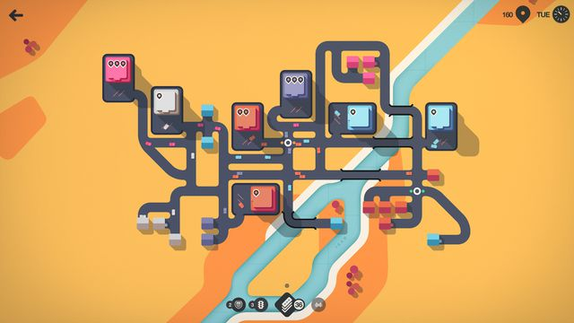 Mini Motorways - a view of a player's city in a desert town, with roads and houses spread out.