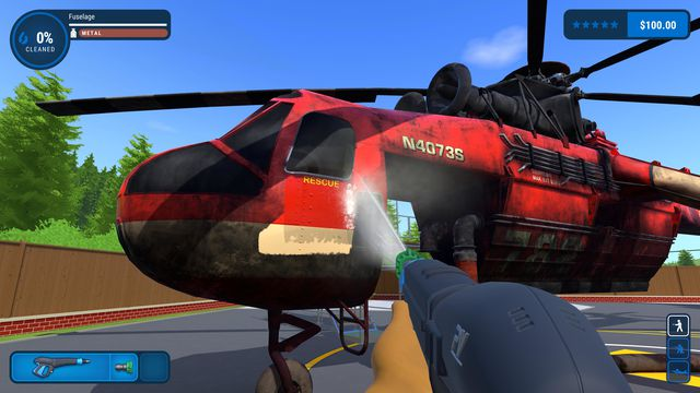 PowerWash Simulator - someone is cleaning a red helicopter with a power washer.