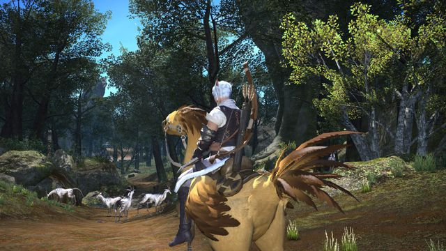 Final Fantasy 14 - a white haired characters sits on a Chocobo, a giant chicken mount, as a herd of zebra like creatures frolic in a meadow nearby