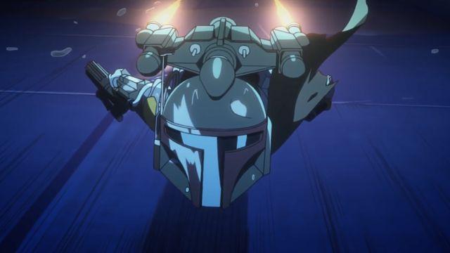 Star Wars anime Visions version of Boba Fett flying