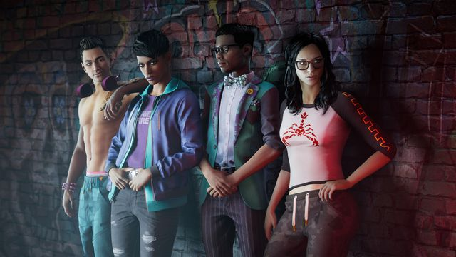Four young adults leaning against a wall; these are the new Third Street Saints in the rebooted Saints Row.