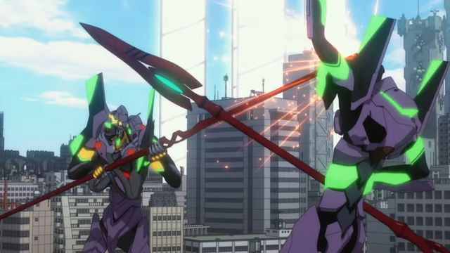 Evangelion Unit 13 and Evangelion Unit 01 dueling with spears