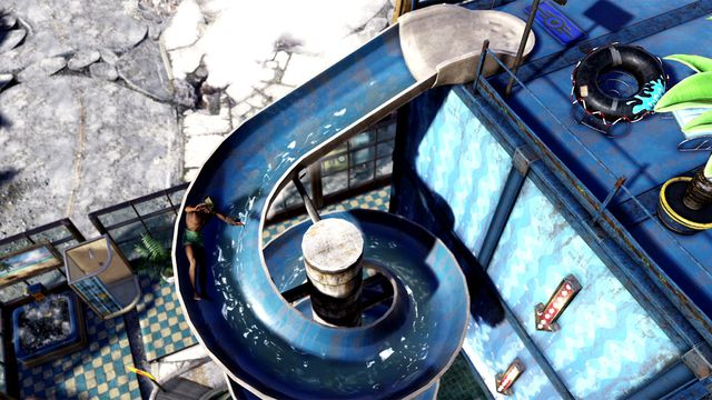 Fallout 76 - a man in his swimming drunks goes down a waterslide, having a great time