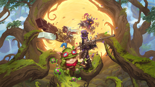 Legends of Runeterra - a collection of champions from League of Legends, including Veigar, Teemo, Caitlyn, and Senna, pose with their weapons in front of a giant glowing yellow portal to Bandle City.