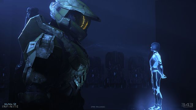 Master Chief speaks with Cortana in Halo Infinite