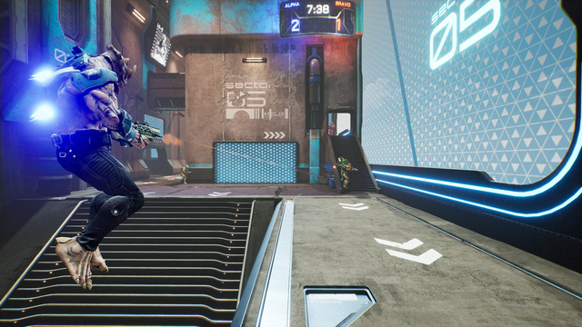 Several Splitgate players fighting each other