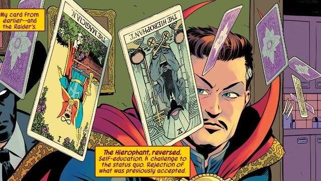 Doctor Strange and the Masked Raider look at a flurry of tarot cards that hang suspended in the air through Strange's apartment in Defenders #1 (2021).