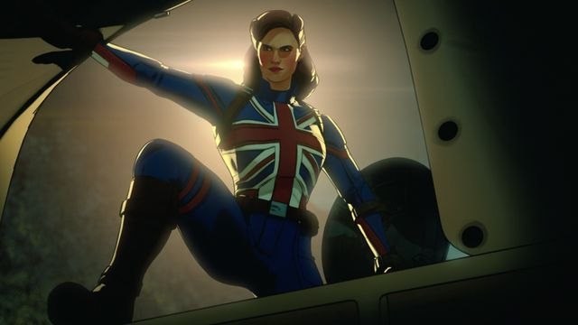 Peggy Carter wears the Union Jack on her chest as Captain Carter in What If...?