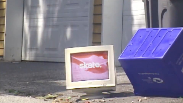 image capture of an old CRT PC monitor displaying the skate series logo