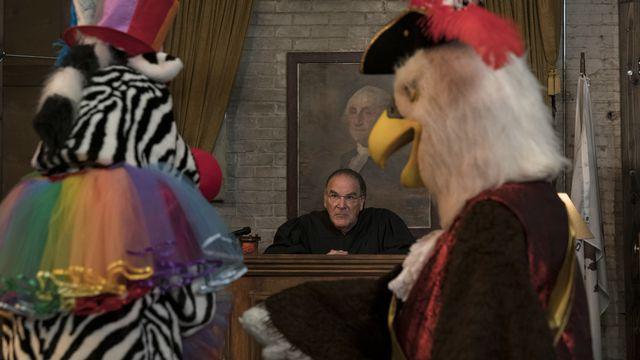 Judge Hal Wackner presides over a court attended by people in a zebra and eagle costumes in The Good Fight Season 5