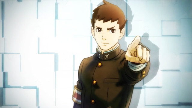 Ryunosuke Naruhodo, protagonist of The Great Ace Attorney Chronicles, points at someone off-screen