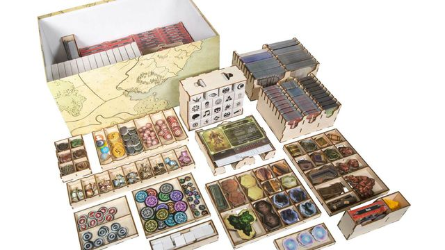 An organizer for the game, Gloomhaven, made of laser-cut wood.