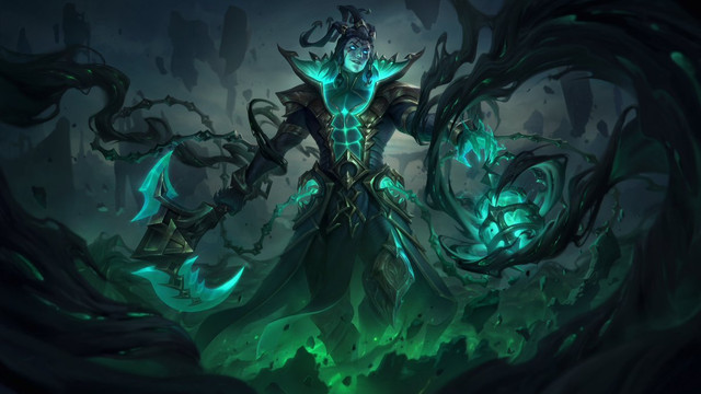 League of Legends - Unbound Thresh, an image released on League of Legends social media, which shows the revenant Thresh as a sexy glowing ghost man with abs