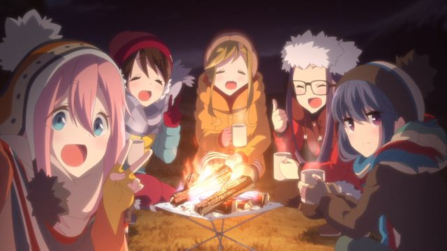 The girls of Laid-Back Camp chilling by the fire