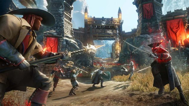 Warriors fight with spears outside a fortress gate in a screenshot from Amazon's MMO New World.
