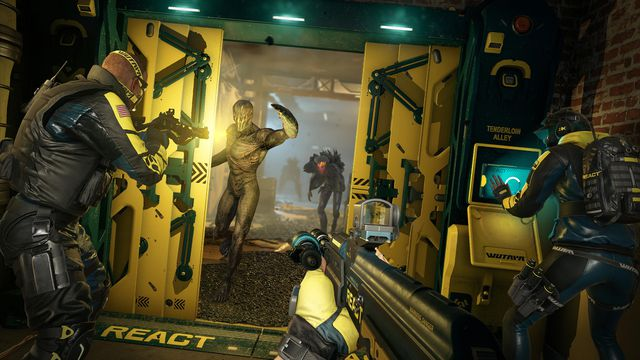 Operators battle aliens in a yellowish screenshot from Rainbow Six Extraction
