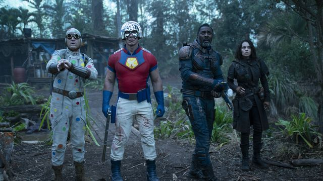 Polka-Dot Man, Peacemaker, Bloodsport, and Ratcatcher 2 stand on guard in The Suicide Squad.