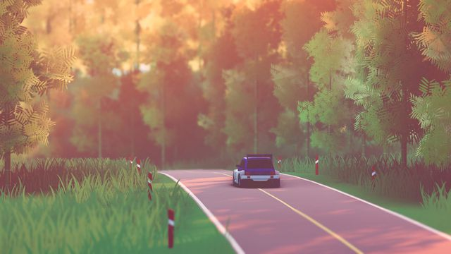 a boxy, 1980s-style rally car with a huge tuner spoiler likely bought from a kragen auto parts in milpitas, drives down a peaceful country road in Art of Rally