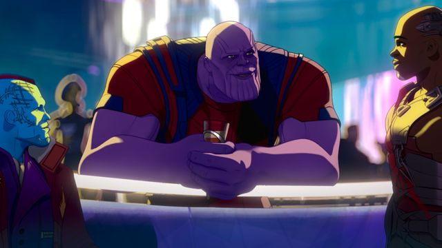 Thanos drinking whiskey at a bar with Yondu and Korath the Pursuer in Marvel's What If...?