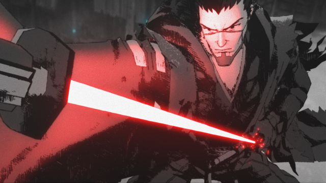 a man with a red lightsaber in star wars visions