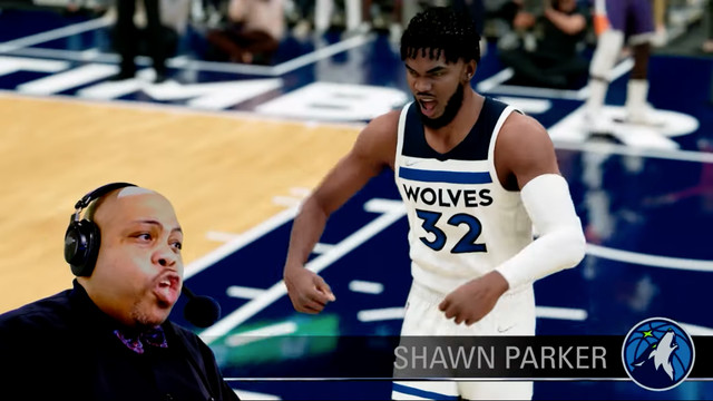 Minnesota Timberwolves PA announcer Shawn Parker superimposed on gameplay footage of NBA 2K22
