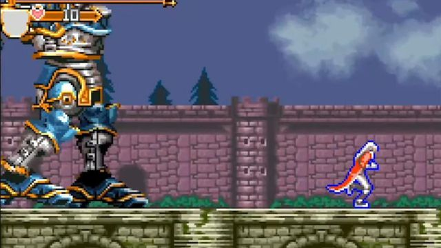 Castlevania - A vampire hunter flees from a giant robot outside a scary castle