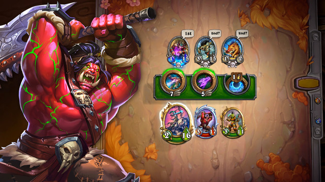 Hearthstone - an orc Mercenary swings his axe over a screen of card-based gameplay
