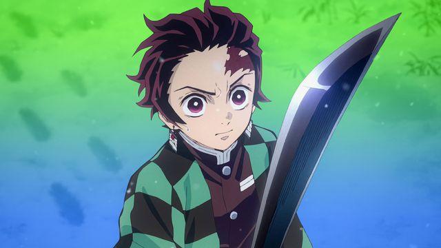 Tanjiro Kamado holding a sword on a green/blue background