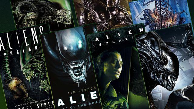Grid featuring seven different Alien books on a dark green/black background