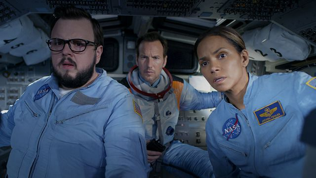 Halle Berry, Patrick Wilson, and John Bradley in space suits in Moonfall