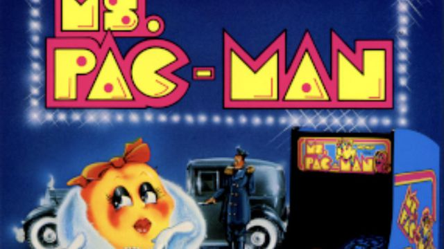 Ms. Pac-Man's video game cover art