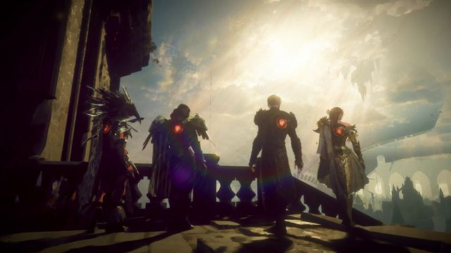 Four heroes look out upon a clouded city in a screenshot for Babylon's Fall