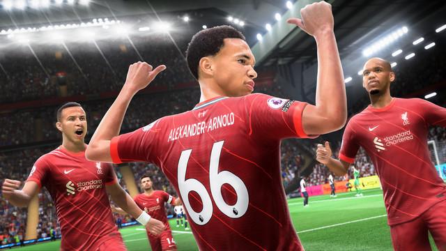 Trent Alexander-Arnold of Liverpool celebrates by gesturing to his numeral and nametape in a manner similar to Jamie Tartt da-da-dadada-da-dada