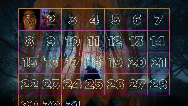 """A grid layout of the month of October as a Halloween """"advent"""" calendar"""