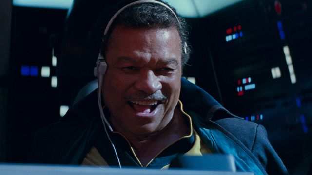 Lando joins in the climactic battle of the latest Star Wars trilogy at the helm of the Millennium Falcon.