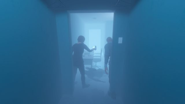Phasmophobia - A ghost in a misty realm of fog observes two ghost hunters investigating a home